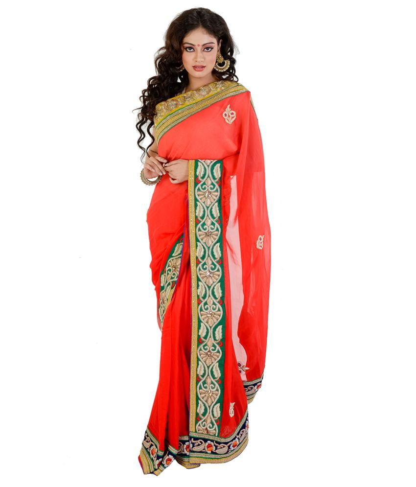 Rangoili Orange Georgette Saree