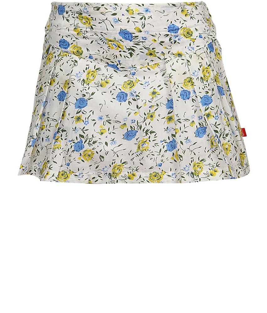 Dreamszone Yellow & Blue Printed Skirts For Kids