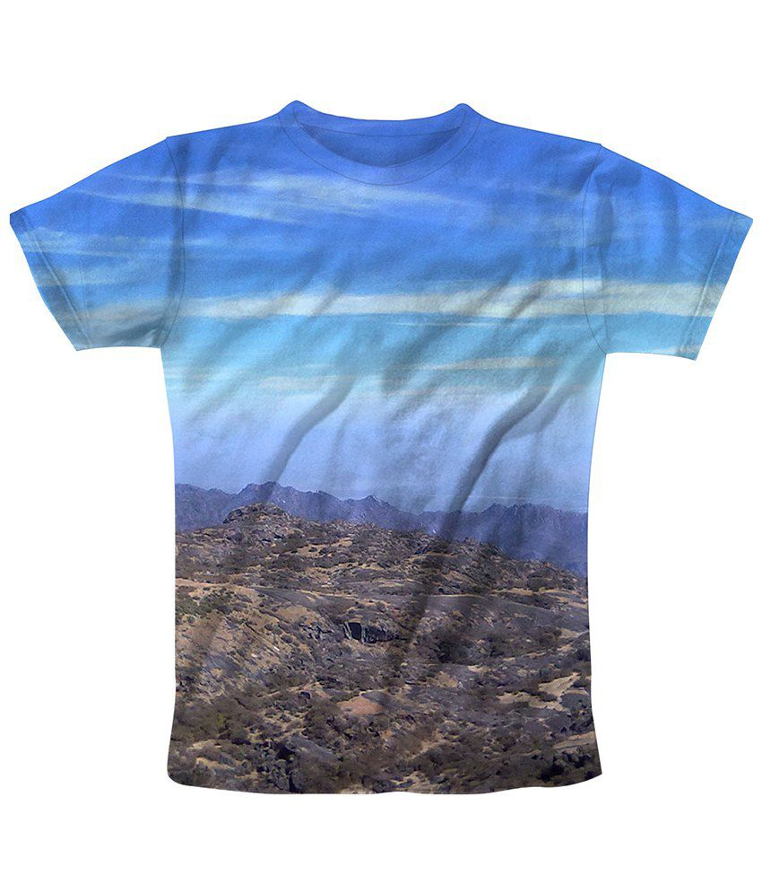 Freecultr Express Blue & Brown Skyline Printed T Shirt