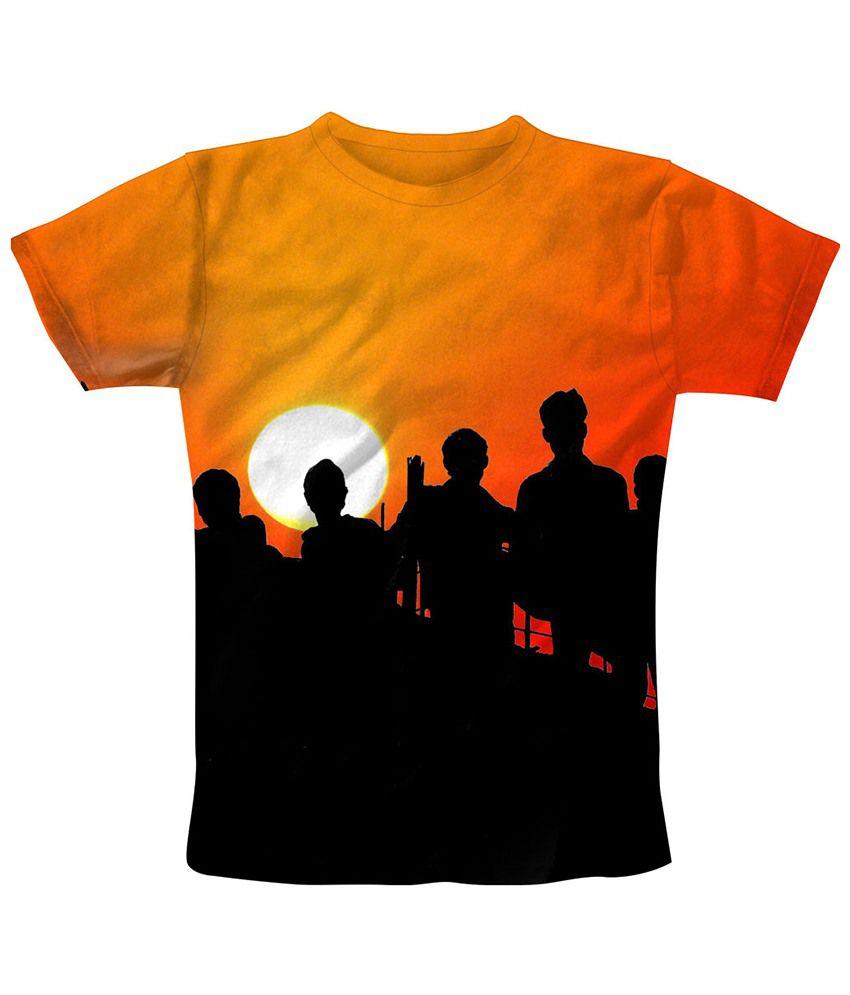 Freecultr Express Orange & Black Amigo Printed T Shirt