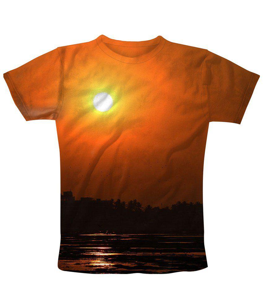 Freecultr Express Orange Peer Through Printed T Shirt