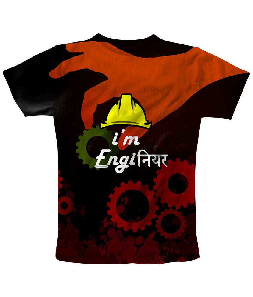 Freecultr Express Red & Black I Am An Engineer Printed T Shirt