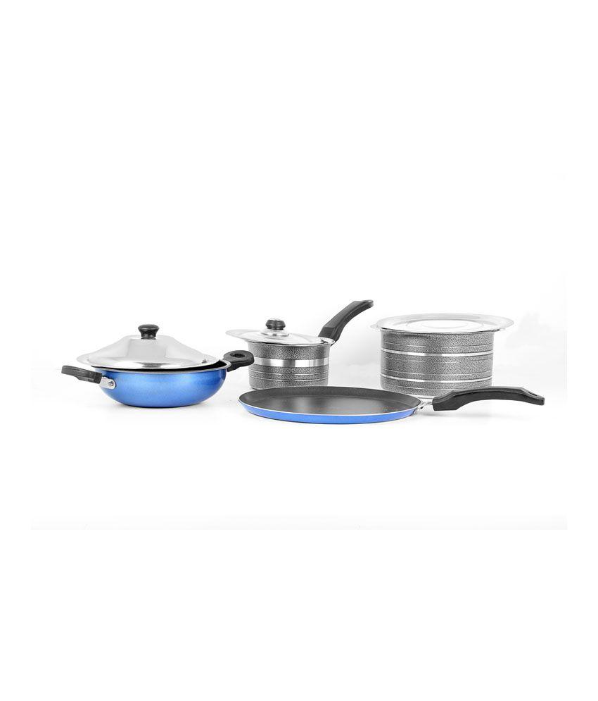 metallic black induction lpg compatible cookware set of 4 buy online at best price in india. Black Bedroom Furniture Sets. Home Design Ideas