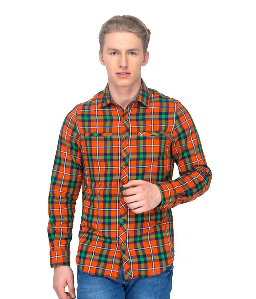Rigs & Rags Orange Cotton Blend Slim Fit Casual Two in One Shirt
