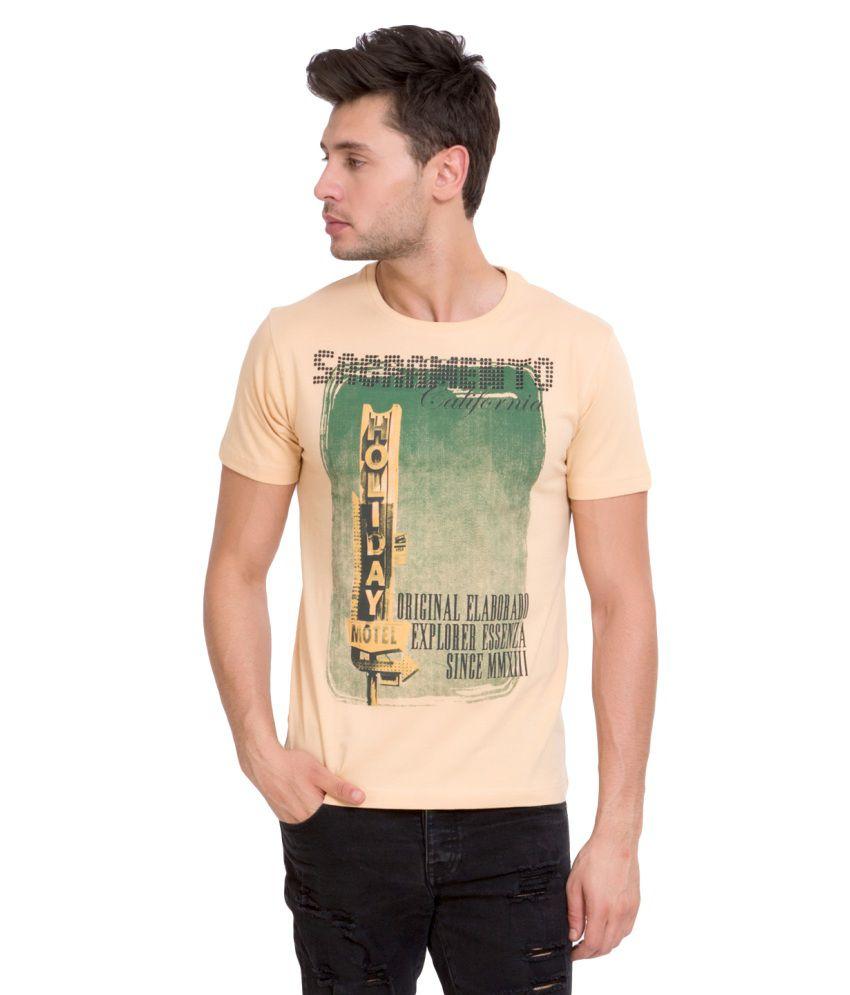 Elaborado Brown Cotton Round Neck T-Shirt
