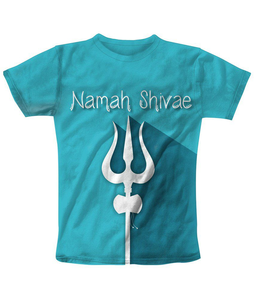 Freecultr Express Blue & White Namah Shivae Graphic T Shirt