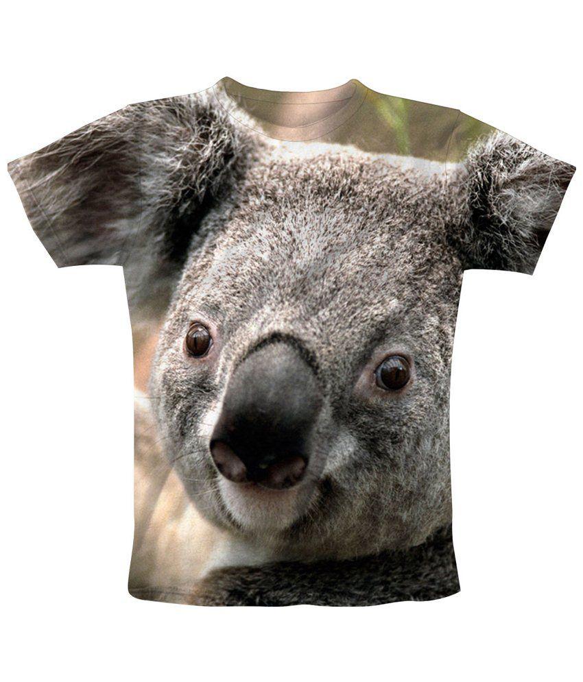 Freecultr Express Gray & Black Koala Printed T Shirt - Buy ...