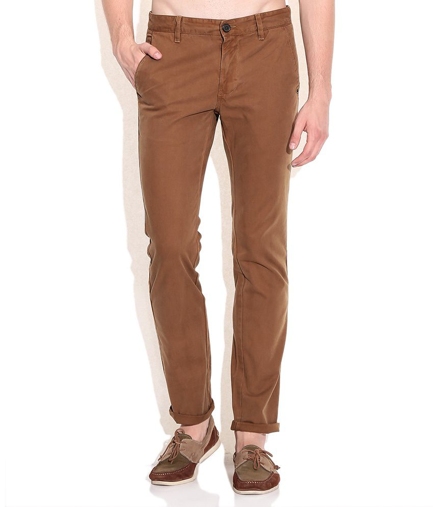 Indian Terrain Brown Brooklyn Fit Casual Trousers