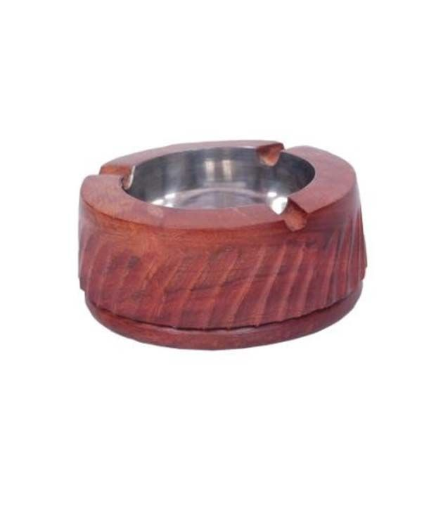 Onlineshoppee Wooden Premium Quality Antique Ashtray With Beautifully Handicrafts Design