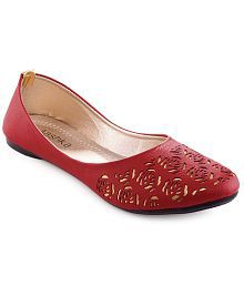 Aashka Red Faux Leather Low Heel Ballerinas latest online clearance newest Cheapest cheap price 4xj6qAl