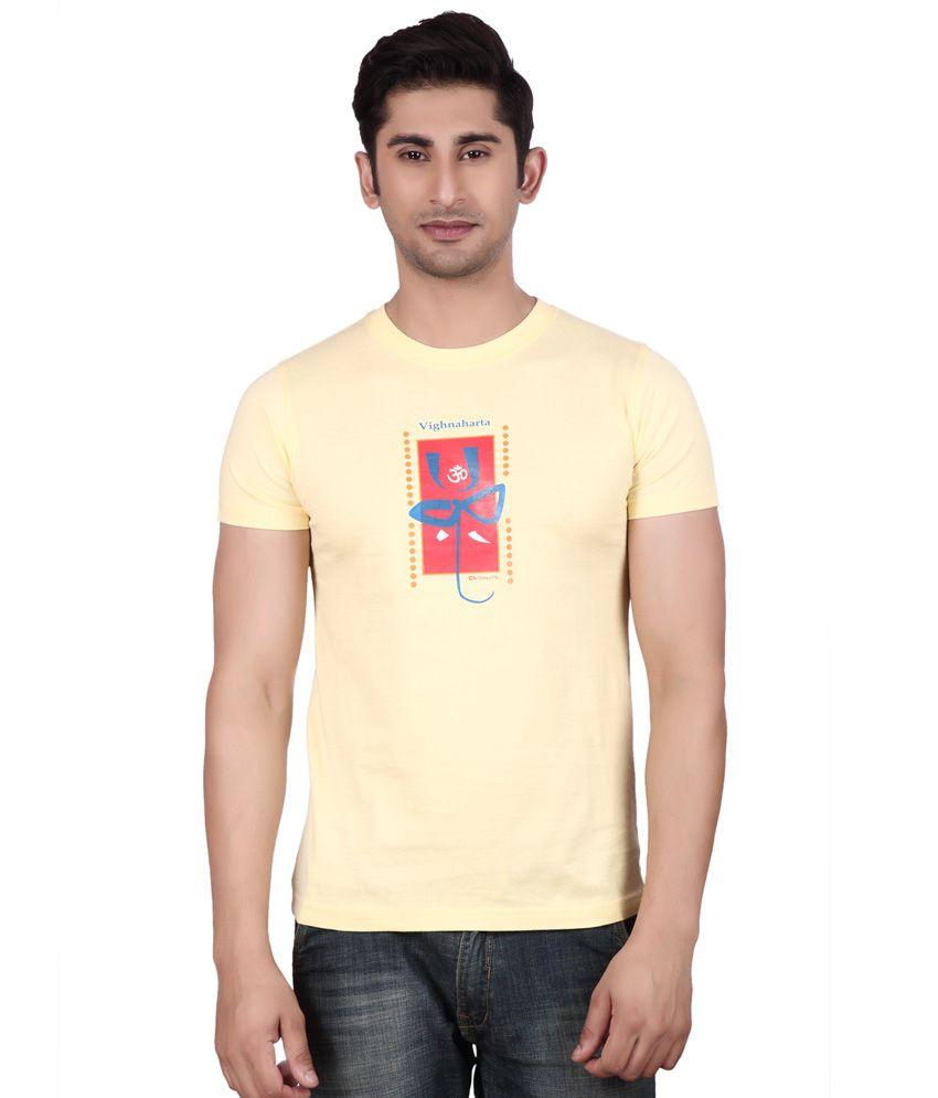 Big Mouth Yellow Cotton Round Neck T-shirt