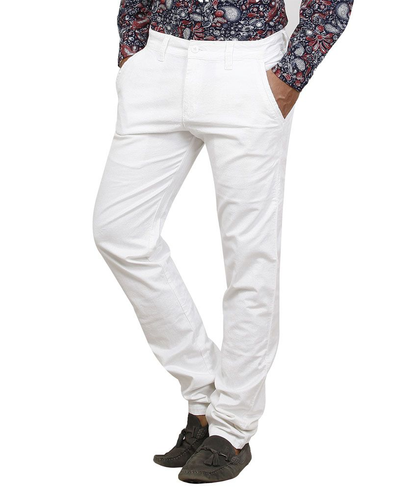 Private Image White Cotton Lycra Slim Casuals Corduroy