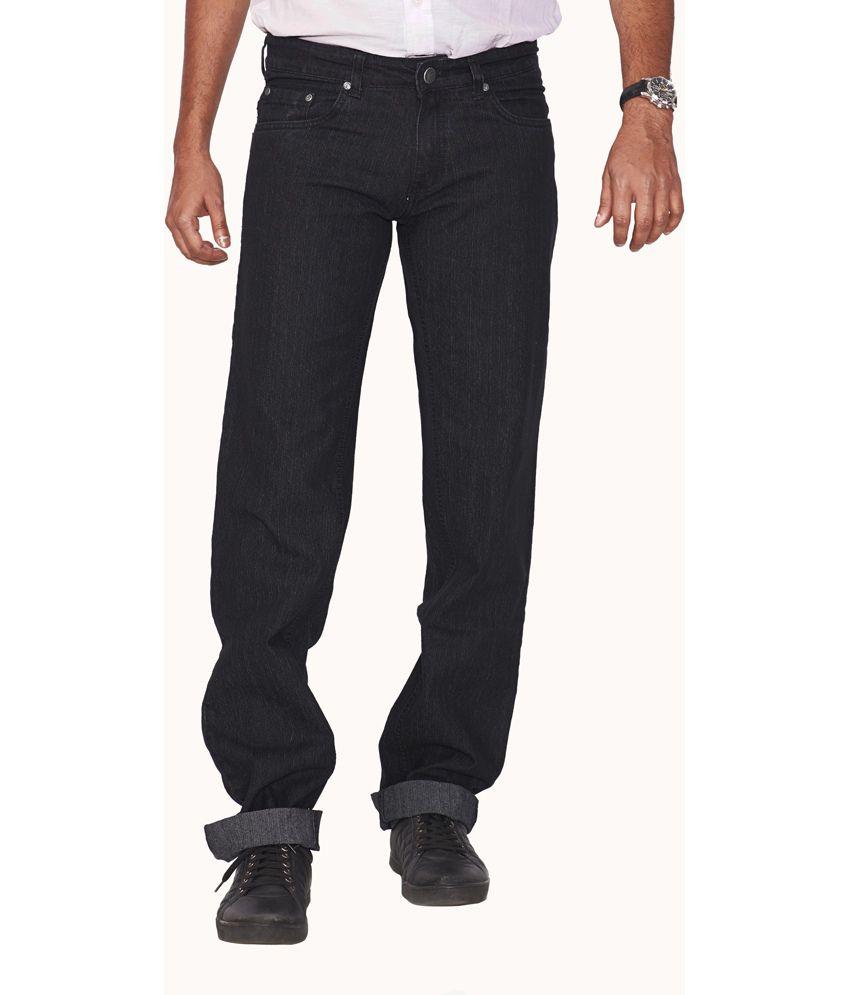 Flags Black Cotton Blend Regular Fit Jeans