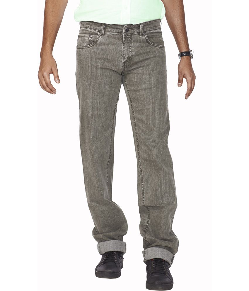 Flags Green Cotton Blend Regular Fit Jeans
