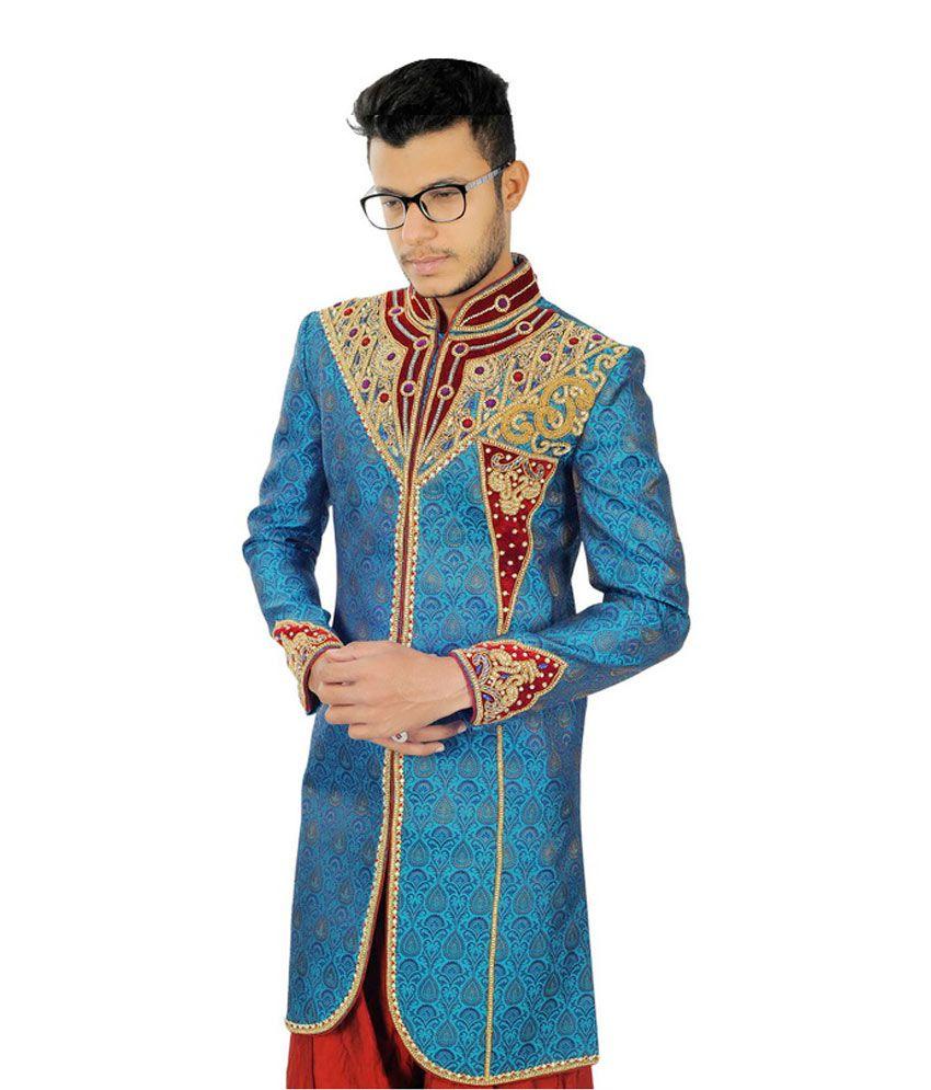 Ji Hajee Blue Silk Blend Wedding Sherwani - Buy Ji Hajee Blue Silk ...