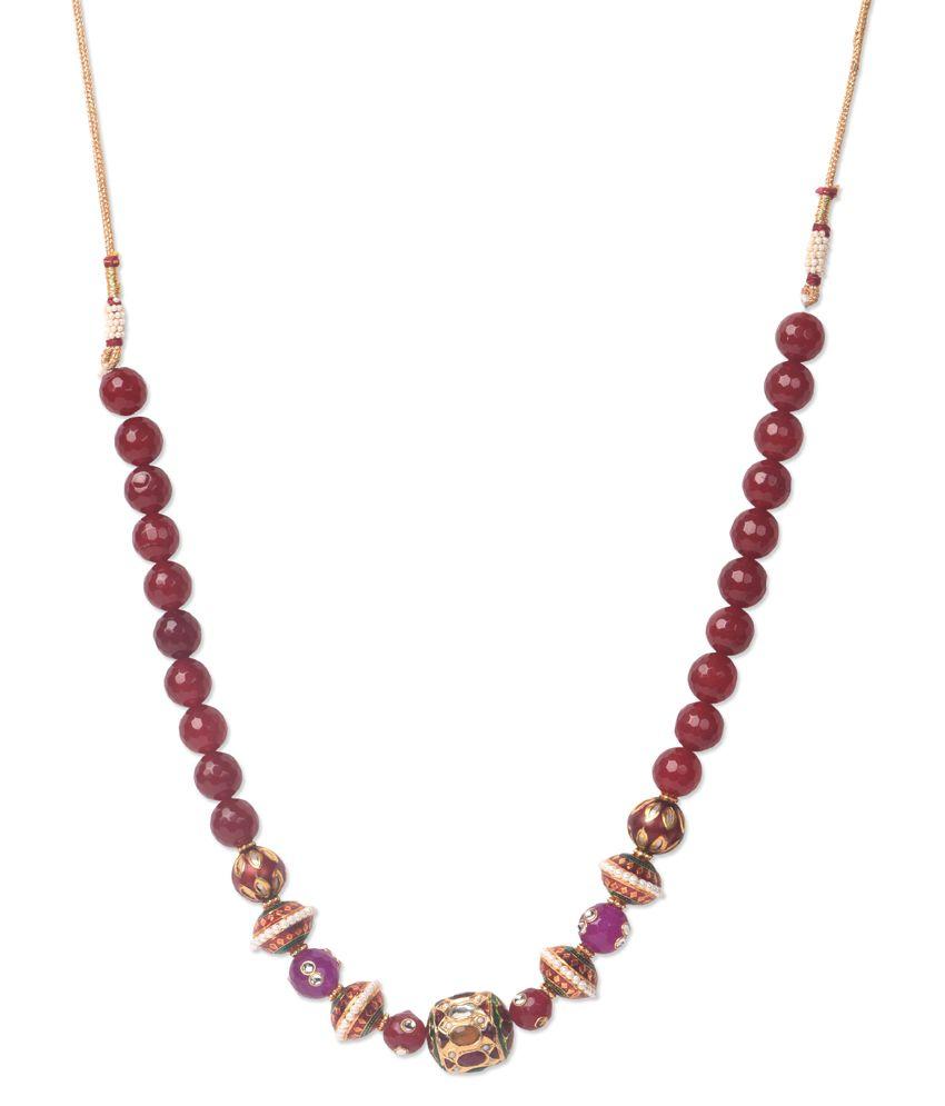 Savi Maroon Kundan Beaded Necklace