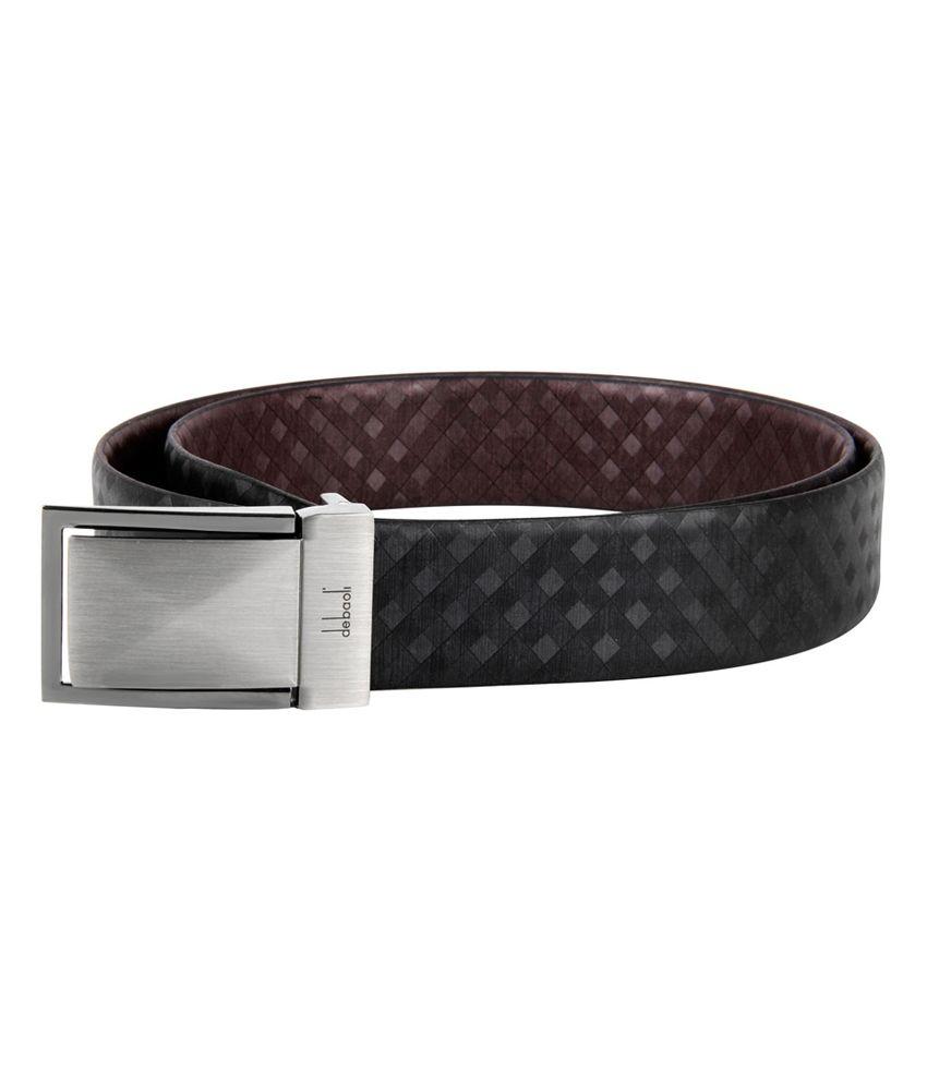 Debaoli Black Leather Reversible Belt