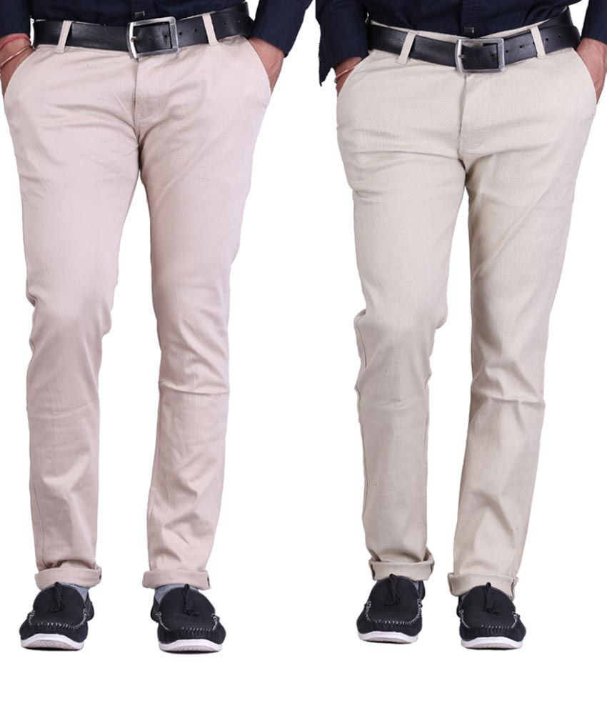 Haltung Lightgrey & Fawn Cotton Blend Trousers