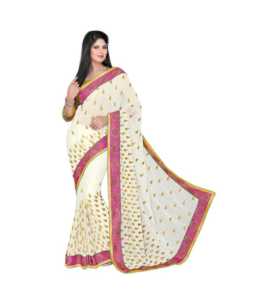 Surbhi Collection White Faux Chiffon Saree