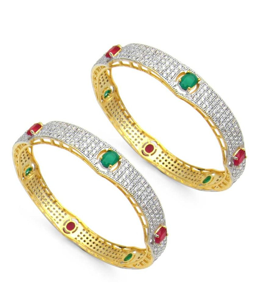 Jaipuriya Beautiful Just Like Diamonds Golden Bangles - Set Of 2