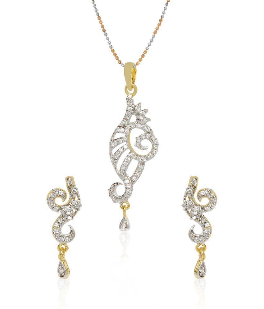 844d9d609 Jewels Galaxy Designer American Diamond Pendant Set With Chain: Buy Jewels  Galaxy Designer American Diamond Pendant Set With Chain Online in India on  ...
