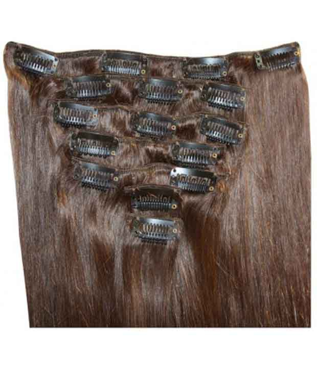Krome Clip In Remy Human Hair Extensions Full Head, Dark Brown 4, 18 Inches By Krome Hair London India