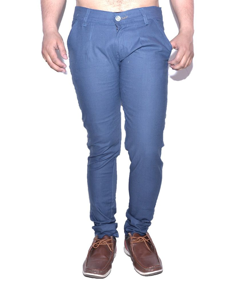 Nation Mania Flat Blue Slim Trouser