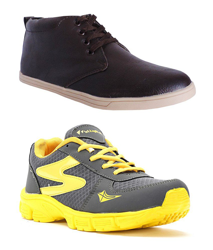 Elligator Combo of GrayYellow Sports Shoes & Brown Casual Shoes