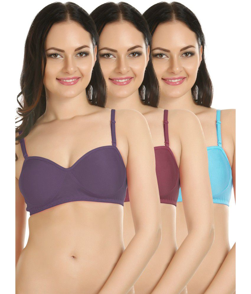 Tweens Multi Color Cotton Non-Padded Bra Pack of 3