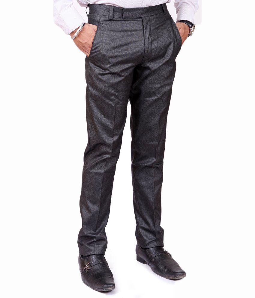 American-Elm Black Poly Viscose Formal Trouser