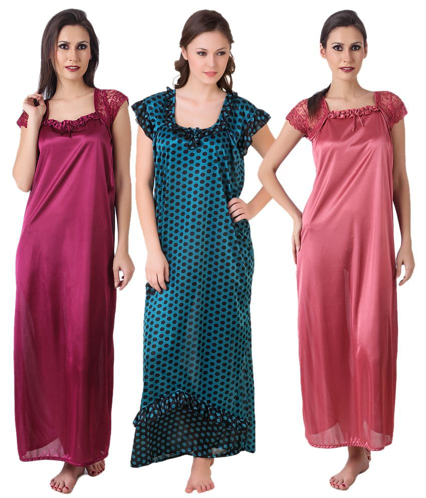 b07c4c24a7 Masha Multi Color Satin Nighty   Night Gowns Pack of 3 Price in India