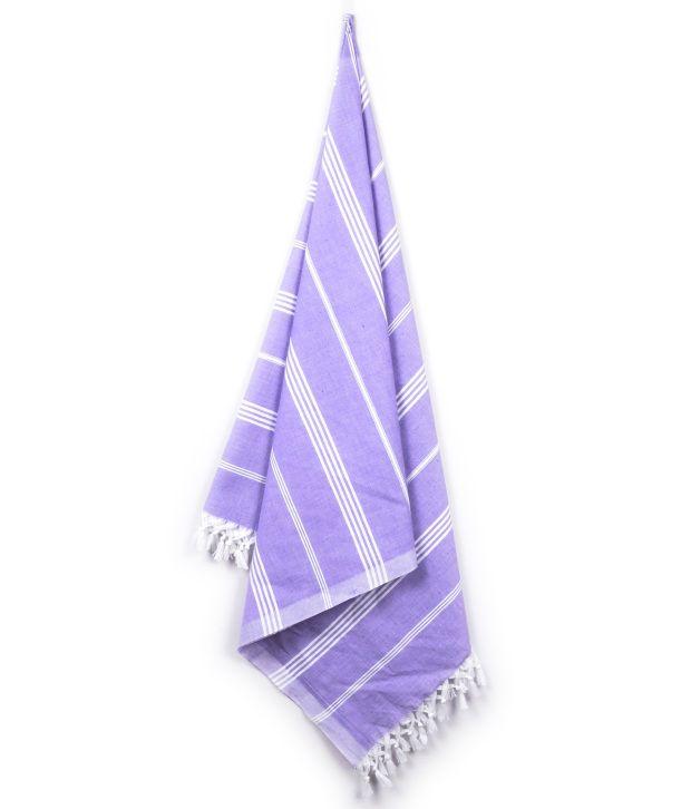 Sathya Single Cotton Bath Towel - Purple