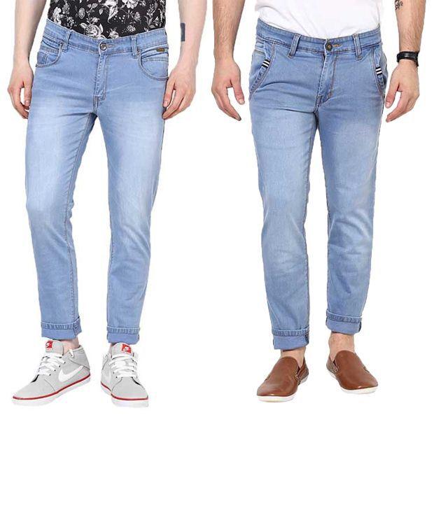 Zaab Combo Of Light Blue Slim Fit Jeans
