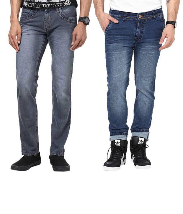 Zaab Combo Of Medium Blue & Gray Slim Fit Jeans