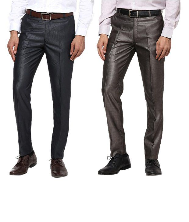 Zaab Gorgeous Navy & Brown Formal Trousers Pack Of 2