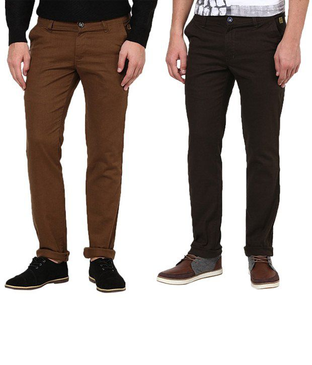 Zaab Hypnotic Brown & Black Casual Trousers Pack Of 2