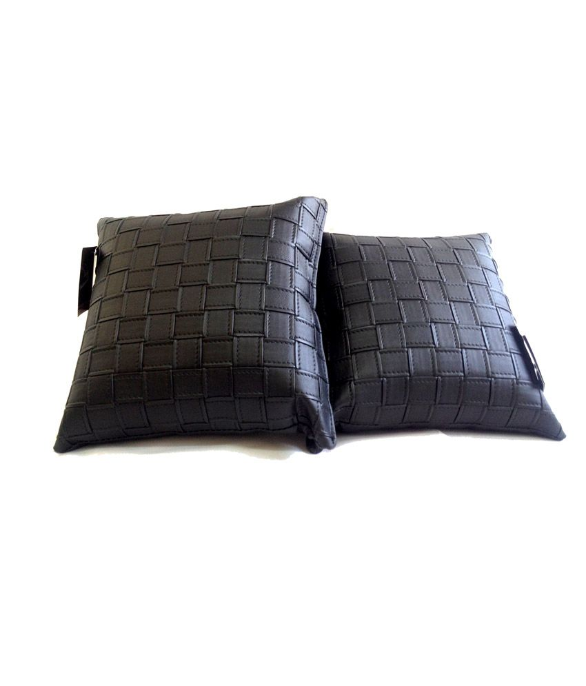 Fingo-P8 Black Tie Down Filled Cushions for Cars