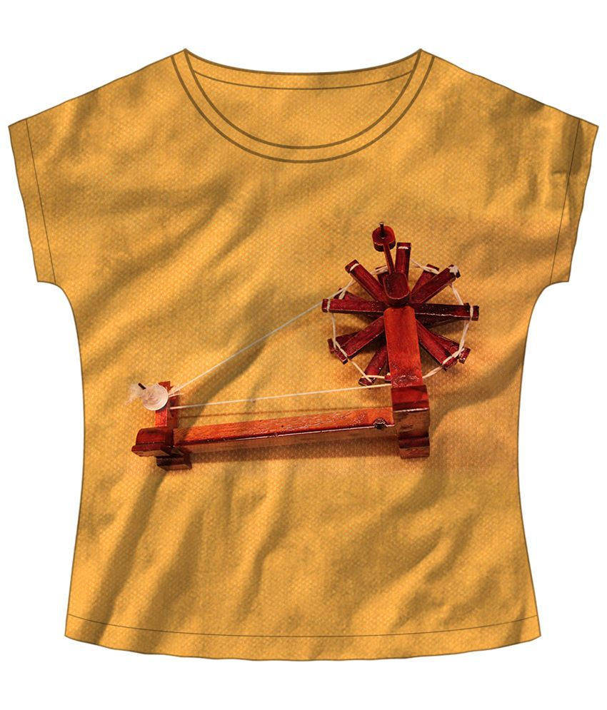 Freecultr Express Beige & Red Make It Yourself Boat Neck Printed T Shirt
