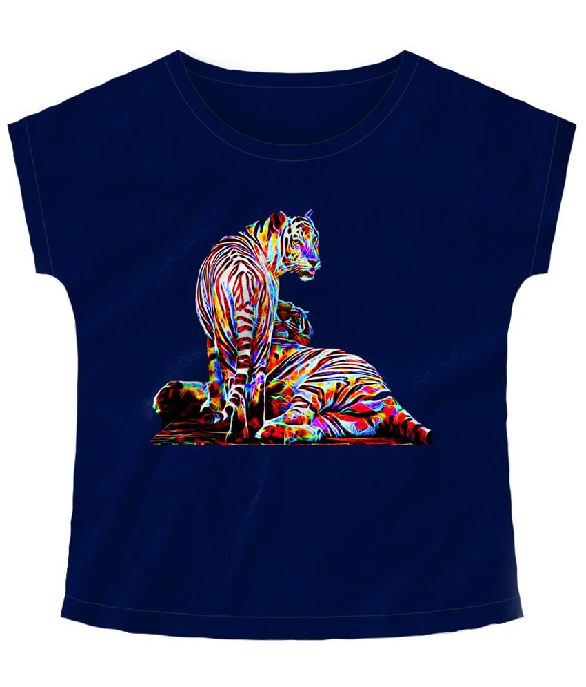 Freecultr Express Blue Tiger Boat Neck Printed T Shirt