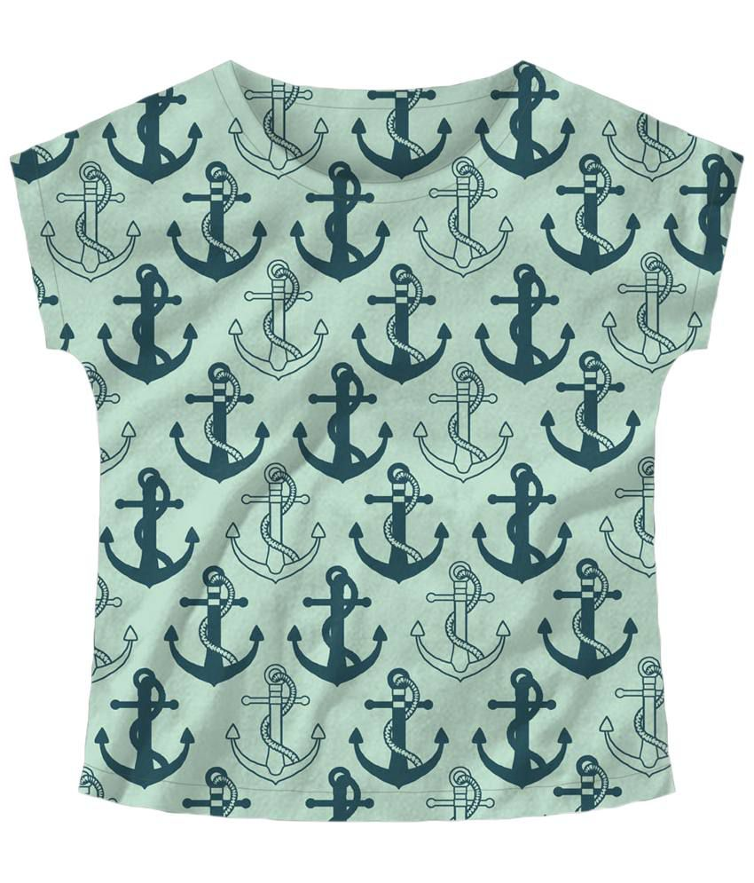 Freecultr Express Green Anchor Boat Neck Printed T Shirt