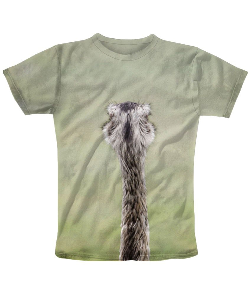 Freecultr Express Green & Beige Slender Round Neck Printed T Shirt