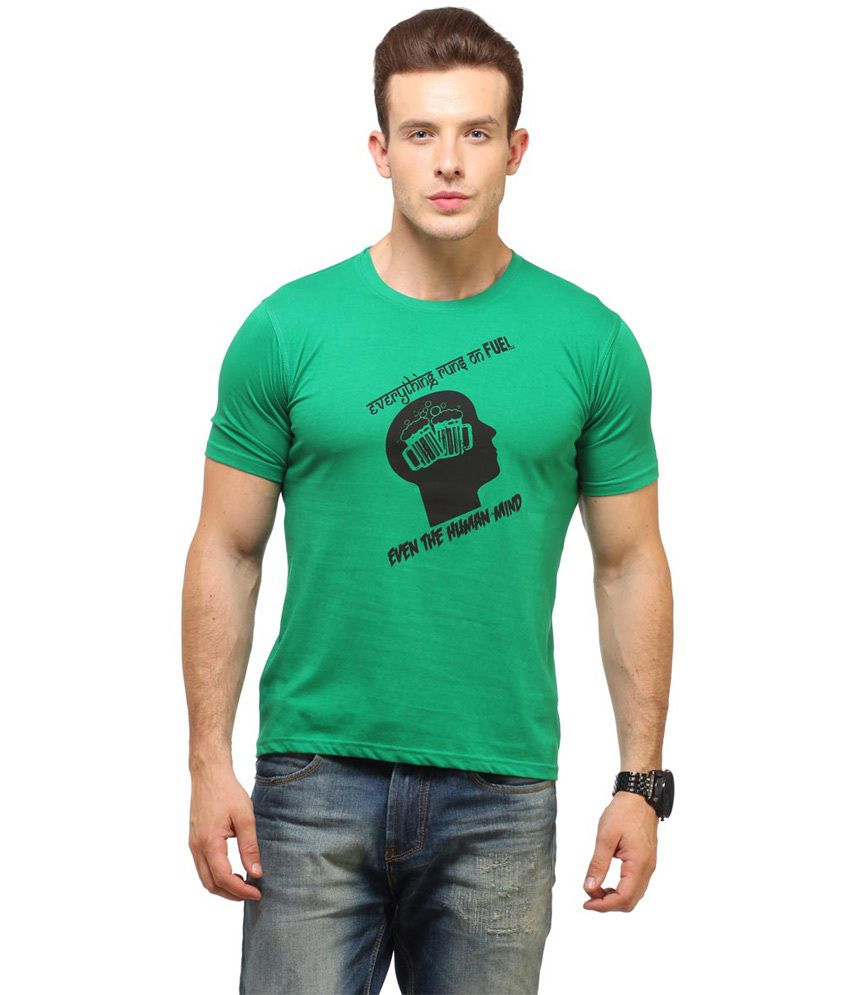 Fresh Green Cotton Half Sleeves Round Neck T-Shirt
