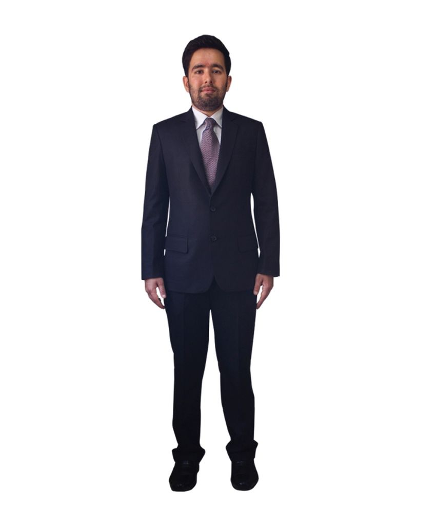 Kinger Black Woollen Formal Suit