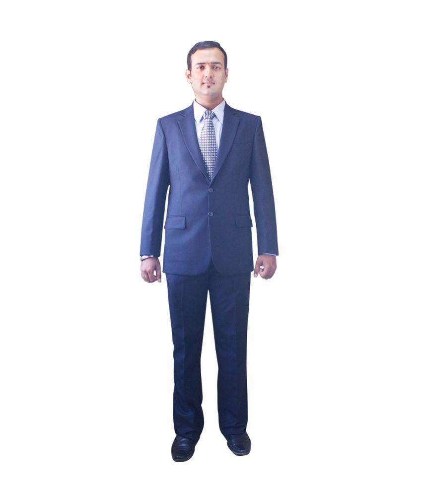 Kinger Blue Woollen Formal Suit