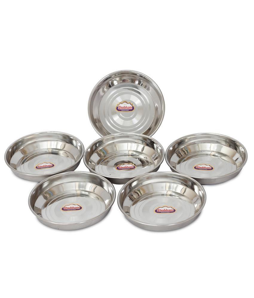 shubham designer steel plates  dishes  pc set  cm small  b  - shubham designer steel plates  dishes  pc set  cm small  b hlw s