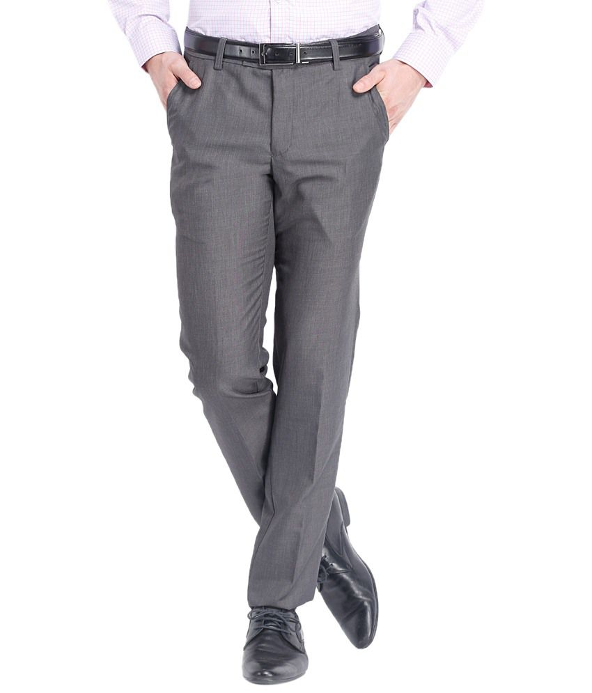 Black Coffee Alluring Gray Formal Trousers Regular Fit