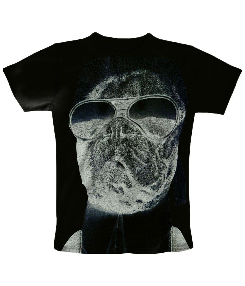 Freecultr Express Black & Gray Shady Round Neck Printed T Shirt