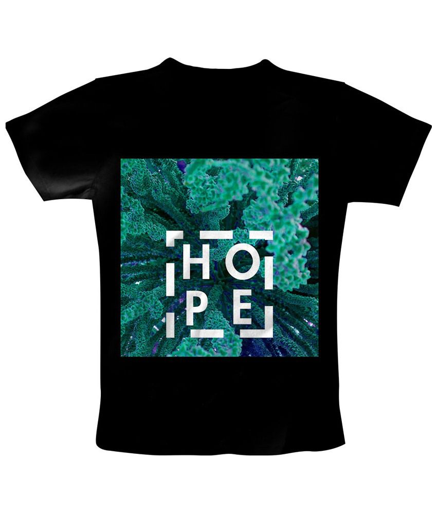 Freecultr Express Black & Green Hope Square Round Neck Printed T Shirt