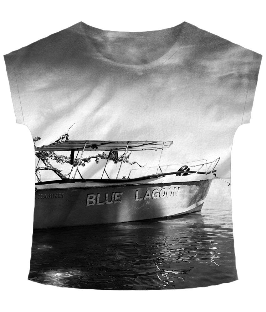 Freecultr Express Gray Boat Neck Printed T Shirt