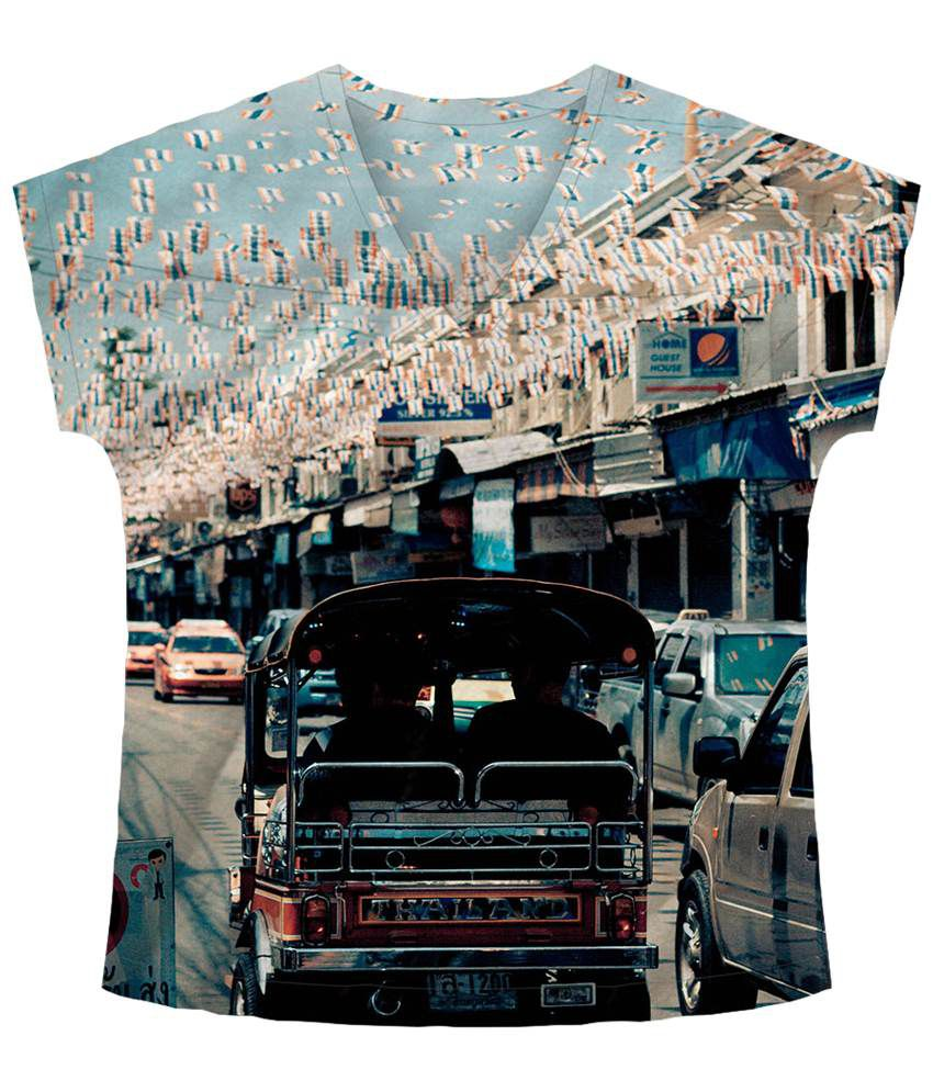 Freecultr Express Multicolour Journey V Neck Printed T Shirt